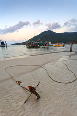 anchor, beach, boats, sunset