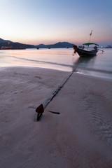 anchor, boat, coastline, sunset