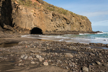volcanic rocks on Bethells beach, New Zealand