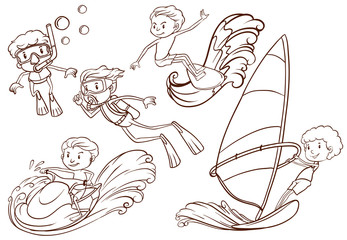 Simple sketch of people doing water sports