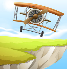 A plane near the cliff