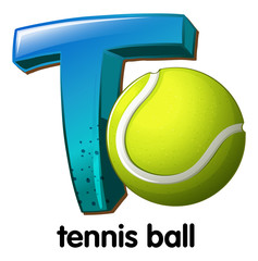 A letter T for tennis ball