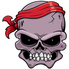 Vector illustration of Skull pirate