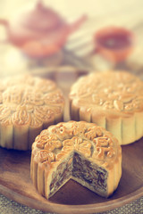 Mooncakes in vintage toned