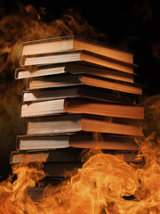 Stack of books in a burning fire