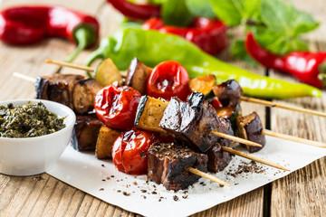 Grilled beef shishkabobs