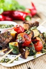 Grilled  vegetables and beef shishkabobs