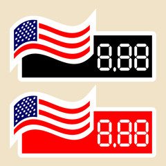 Price labels with the American flag