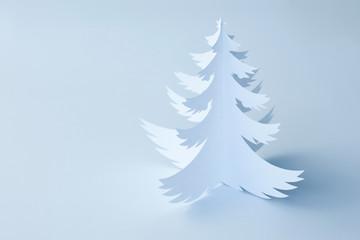 White Handmade Paper Christmas Tree - horizontal