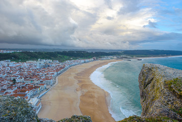 Panoramic view of Nazare beach, Portugal