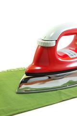 Ironing a green cloth