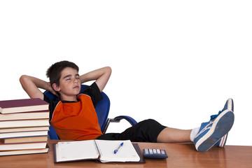 boy with feet up sleeping comfortable school