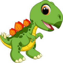Cute baby stegosaurus cartoon