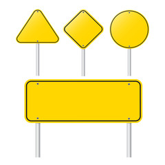 set of  Blank Yellow Sign   - Empty Yellow Symbol isolated set