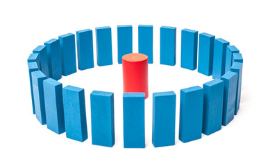 Circle of blue blocks around single red one