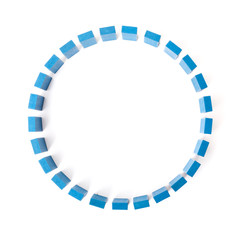 Circle of blue building blocks