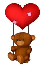 Balloon shaped read heart little girl swing