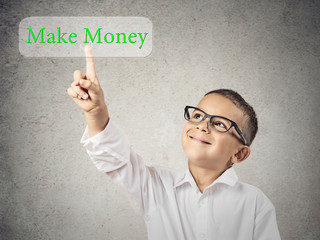Little man pressing make money button on touchscreen