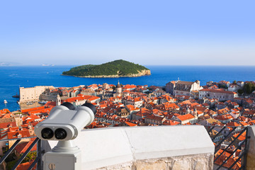 Binoculars and Dubrovnik in Croatia