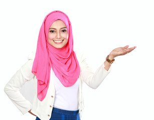 asian woman with scarf presenting