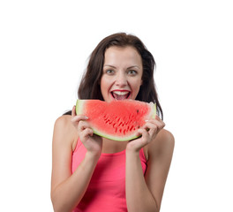 Woman with piece of watermelon, isolated on white background