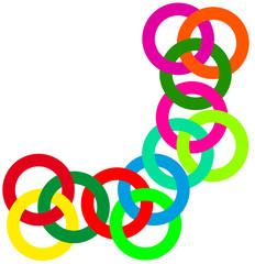 anneaux entrecroisés, bracelet caoutchouc élastique
