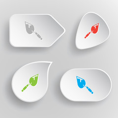 Trowel. White flat vector buttons on gray background.