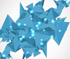 abstract blue mesh triangle technology and development backgroun
