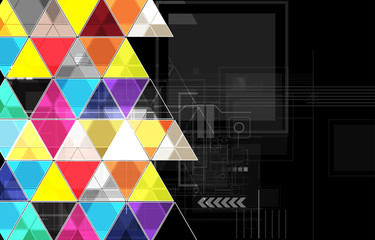 abstract black triangle technology background