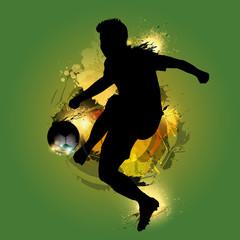 soccer player kicking ink splash