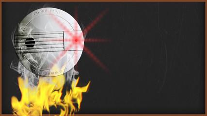 smoke detector with smoke and copy space - 16 zu 9 - e1071