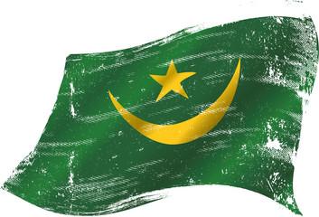waving Mauritanian grunge flag