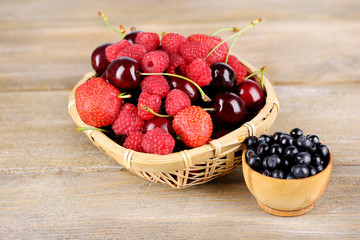 Berries in basket on wooden background