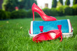 canvas print picture - shoes are on the bag and on the ground, women's summer shoes