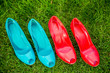 women's shoes in a row standing position on the grass