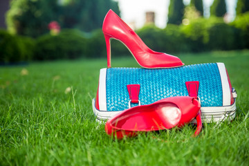 shoes are on the bag and on the ground, women's summer shoes