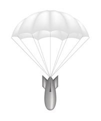 Bomb at white parachute