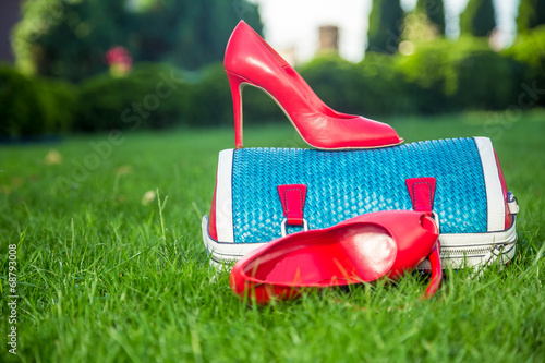 canvas print picture shoes are on the bag and on the ground, women's summer shoes