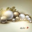 Christmas balls, golden Xmas baubles. Garland. Vector
