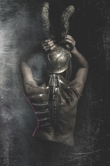 Warrior woman, Latina with Golden Helmet and naked