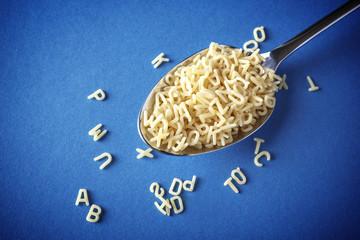 Letters shapes pasta