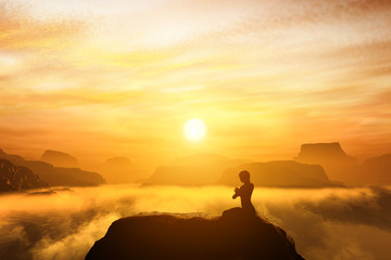 Woman meditating in yoga position on the top of mountains