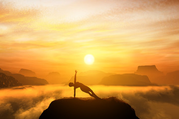 Woman meditating in balance yoga pose on the top of mountains