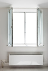 White plastic open double door window