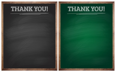 isolated thank you black and green blackboards or chalkboards