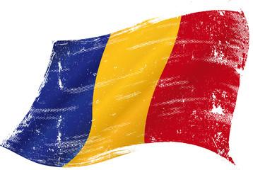 waving Chadian grunge flag