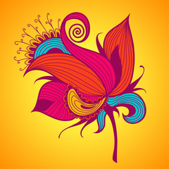 Exotic flower on yellow background