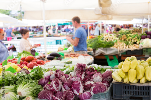 canvas print picture Vegetable market stall.