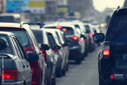 traffic jams in the city, road, rush hour poster
