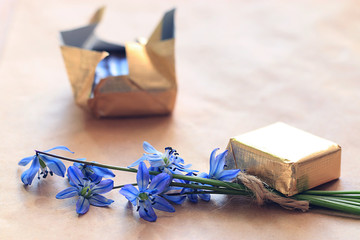 small blue flowers chocolate